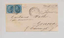 Levante 1883 10 Cent Azzurro Coppia Orizzontale Usata Su Fronte Lettera FIRMATA - Bureaux Etrangers