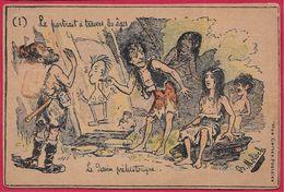 """CPA Illustrateur MOLOCH  """"Le Portrait à Travers Les Ages"""" """"Le Dessin Préhistorique"""" Humour - Moloch"""