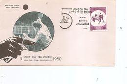 Tennis De Table ( FDC D'Inde De 1980 à Voir) - Tenis De Mesa