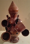 Brocca O Bottiglia In Terracotta Con Sei Tazzine - Altri Bottiglie