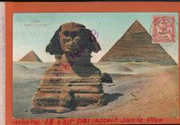 CPA  CAIRE   SPHINX Et PYRAMIDE  Timbre Poste Francaise  ALEXANDRIE 10 C TYPE MOUCHON RETOUCHE   JANV 2018 079 - Alexandria (1899-1931)