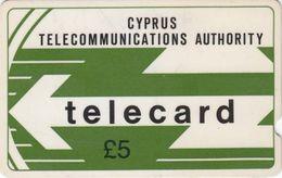CYPRUS - Cyta Logo, GPT, Deep Notch, 5 £, 8CYPA, CN At The Bottom, % 40.000ex, 1988, Used - Cyprus
