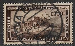 Italy, 1949, Centenary Of Roman Republic, 100 Lire, Used ROMA PERROVIA 2- 8 1949 , C.d.s. - 6. 1946-.. Repubblica