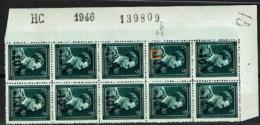 724P Bloc 10  ** Cdf HC 1946 139809 Avec LV 35 Griffe IE - 1946 -10 %