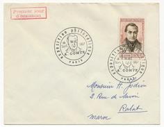 """FRANCE - Enveloppe Cachet Temporaire """"Exposition Philatélique A.Comte"""" Paris 1957 - Premier Jour Auguste Comte - Cachets Commémoratifs"""