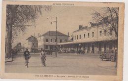 73,SAVOIE,CHAMBERY,TIMBRE,1938,FEMME AVEC VELO,GARE - Chambery
