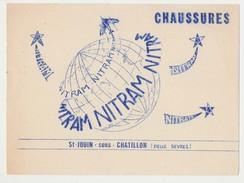 Buvard 20.9 X 15.4 Les Chaussures NITRAM De St-Jouin-sous-Chatillon (Deux Sèvres)  Globe Terrestre étoile Avion - Shoes