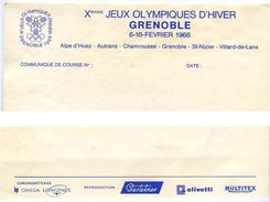 Communiqué De Course à L'en-tête Des X° Jeux Olympiques D'Hiver De Grenoble 1968 Olympic Games 68 - Olympics