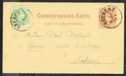 Correspondenz-Karte - MM N°36 (Mit 1 Aufdrückte Briefmark; MM N° 35 - Y & T N° 32)- BREGENZ Nach GERSAU (CH) - 25/9/1873 - Briefe U. Dokumente