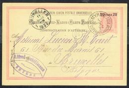 Correspondenz-Karte - (Mit 1 Aufdrückte Briefmark P22 - Y & T N° 16) - SMYRNA Nach BRUXELLES (BE) - 5/3/1892. - Levant Autrichien