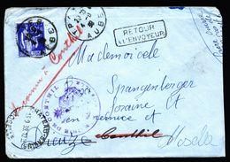 A5049) Frankreich France Brief Troyes 1939 Nachgesandt Nachgebühr Retour - Frankreich