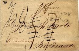 """1816- Letter From STTETIN  To, Bordeaux  - Strange Rating !  """" Fco Sarrebruck """" + ALLEMAGNE /PAR / SARREBRUCK - Deutschland"""