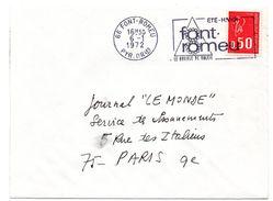 PYRÉNÉES ORIENTALES - Dépt N° 66 = FONT-ROMEU 1972 = FLAMME à DROITE = SECAP Illustrée 'le DOUBLE De SOLEIL' - Postmark Collection (Covers)