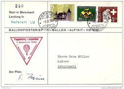"""13 - 44 - Enveloppe Vol Ballon """"Flugmeeting Langenthal 1958 - Signature Du Pilote - Montgolfières"""