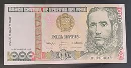 PERU'  - 1000 INTIS - MIL INTIS - FIOR DI STAMPA - CARTAMONETA - PAPER MONEY - Pérou