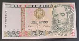 PERU'  - 1000 INTIS - MIL INTIS - FIOR DI STAMPA - CARTAMONETA - PAPER MONEY - Perù