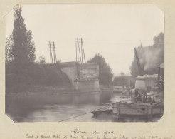PONT DE MOURS, 22 Oct 1914. Vue Du Chemin De Halage Côté Paris.  Quadruplement. Photo Originale - Trains