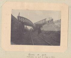 CREPY EN VALOIS : Destruction Du Pont, Guerre De 1914.   Photo Originale .  Quadruplement. - Trains