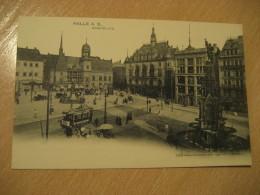 HALLE A. S. Marktplatz Tramway Tram Stage Coach Stagecoach Post Card Saxony Anhalt Germany - Halle (Saale)