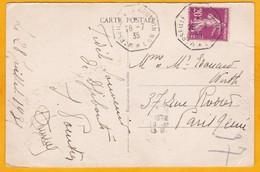 1935 - CP De  Djibouti, Côte Fr. Des Somalis Vers Paris Par Ligne Maritime Marseille Réunion N° 7 - Postmark Collection (Covers)