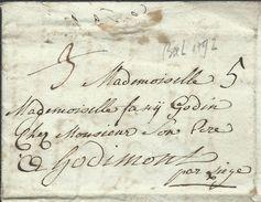 """L 14 Juin 1792 De Bruxelles Pour Hodimont Avec """"3"""" Barré Et """"5"""". - 1790-1794 (Austr. Revol. & Fr. Invas.)"""