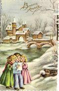 Illustrateur Bonne Année Enfats Chantant Paysage Hivernal Ruisseau Pont Chateau Recto Verso - Neujahr