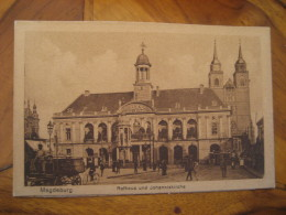 MAGDEBURG Rathaus Johanniskirche Stage Coach Stagecoach Tramway Tram Cycling Post Card Saxony Anhalt Germany - Magdeburg