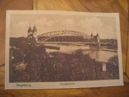 MAGDEBURG Konigsbrucke Bridge Boat Ship River Post Card Saxony Anhalt Germany - Magdeburg