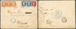 LETTRE Enveloppe Quadricolore Pour Dresde (Saxe), Affranchie Des N°1 + 5 Paire Horizontale + 6 + 10 Paire Horizontale, O - 1849-1850 Ceres