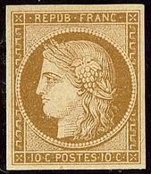 * No 1, Bistre-jaune, Nuance Soutenue, Jolie Pièce. - TB. - R - 1849-1850 Ceres