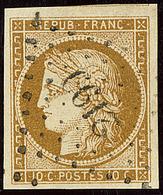 No 1c, Bistre-verdâtre, Nuance Foncée, Obl Pc 2199, Un Voisin, Superbe. - R - 1849-1850 Ceres