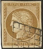 No 1d, Bistre Verdâtre Foncé, Obl Grille, Jolie Pièce. - TB - 1849-1850 Ceres
