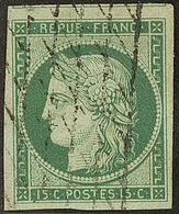 No 2, Vert, Un Voisin, Obl Grille Sans Fin, Nuance Foncée. - TB. - R - 1849-1850 Ceres