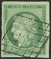 No 2a, Vert Clair, Un Voisin, Obl Grille, Jolie Pièce. - TB. - R - 1849-1850 Ceres