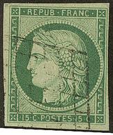 No 2b, Vert-jaune, Obl Grille, Nuance Foncée. - TB - 1849-1850 Ceres