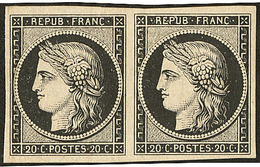 * No 3, Paire Horizontale, Plis Verticaux Sinon Très Frais Et TB D'aspect - 1849-1850 Ceres