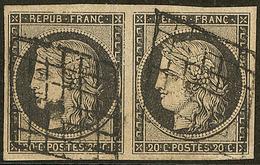 No 3, Paire Horizontale Obl Grille. - TB - 1849-1850 Ceres