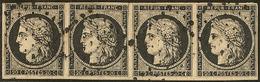 No 3, Bande De Quatre Obl Losange D'annulation, Pli En Marge Centrale Hors Timbres. - TB - 1849-1850 Ceres