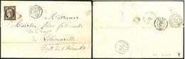 LETTRE 1re Date Connue. No 3 Obl Grille Rouge Sur Lettre De Strasbourg 15 Janv 1849 Pour Villeneuvette, Superbe. - RRR - 1849-1850 Ceres