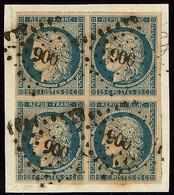 No 4d, Bloc De Quatre, Obl Pc 900, Sur Petit Fragment. - TB - 1849-1850 Ceres