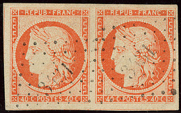 No 5, Paire Horizontale Obl Pc 3431, Trois Voisins, Belle Nuance Et Très Jolie Pièce. - TB - 1849-1850 Ceres
