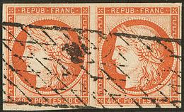No 5, Paire Horizontale Obl Grille Sans Fin, Pd, TB D'aspect. - TB - 1849-1850 Ceres