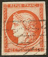 No 5c, Orange Foncé, Obl Grille Sans Fin, Jolie Pièce. - TB - 1849-1850 Ceres