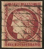 No 6, Carmin, Obl Grille Sans Fin. - TB. - R - 1849-1850 Ceres