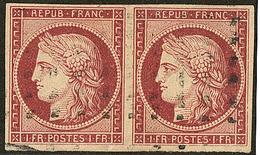 No 6, Paire Horizontale Obl Gros Points, Pli Sur Un Ex Sinon TB - 1849-1850 Ceres