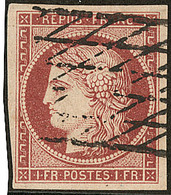 No 6b, Obl Grille Sans Fin, Belle Nuance Tirant Sur Le Rouge-brun, Jolie Pièce. - TB. - R - 1849-1850 Ceres