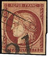 No 6b, Nuance Foncée, Obl Grille. - TB - 1849-1850 Ceres