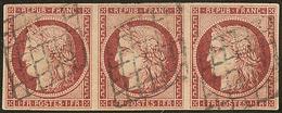 No 6b, Bande De Trois Obl Grille, Jolie Pièce. - TB. - R - 1849-1850 Ceres