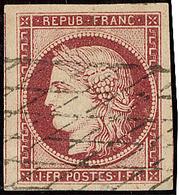 No 6c, Carmin Clair, Deux Voisins, Obl Grille Sans Fin, Superbe. - R - 1849-1850 Ceres