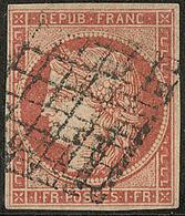 Vermillon. No 7, Obl Grille. - TB. - RR - 1849-1850 Ceres